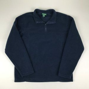 L.L Bean Navy Blue Fleece Pullover Mens Large Tall